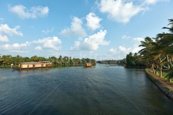 Houseboats on Kerala backwaters. Kerala, India Stock photo © dmitry_rukhlenko