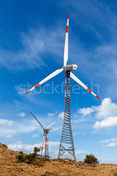 Wind generator turbines sihouettes  Stock photo © dmitry_rukhlenko