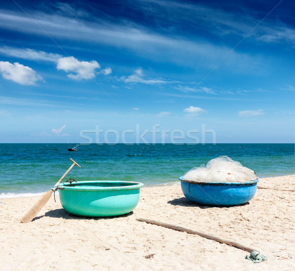 釣り ボート ビーチ ベトナム 海 アジア ストックフォト © dmitry_rukhlenko