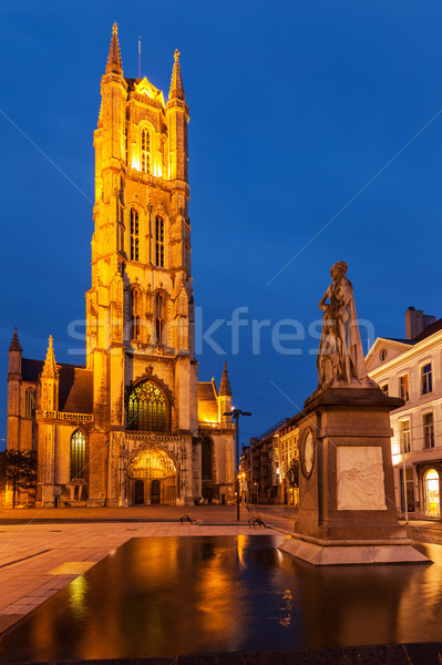 Saint Bavo Cathedral in the evening. Sint-Baafsplein, Ghent, Bel Stock photo © dmitry_rukhlenko
