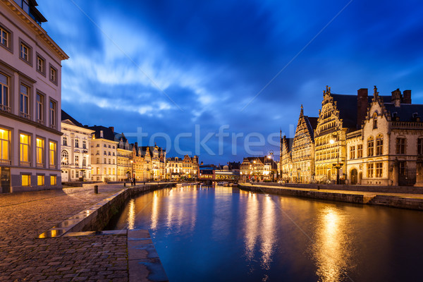 Сток-фото: канал · улиц · вечер · путешествия · Европа · Бельгия