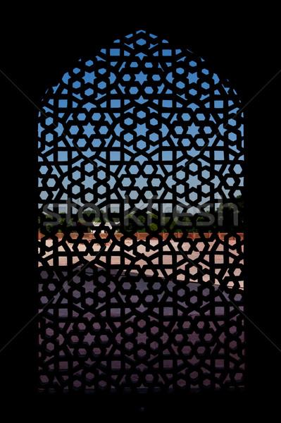 Marbre écran fenêtre tombe Delhi Inde Photo stock © dmitry_rukhlenko