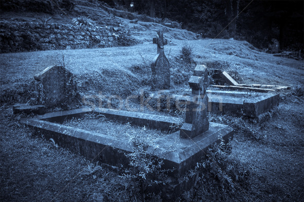 Halloween cimetière brouillard clair de lune nature Photo stock © dmitry_rukhlenko