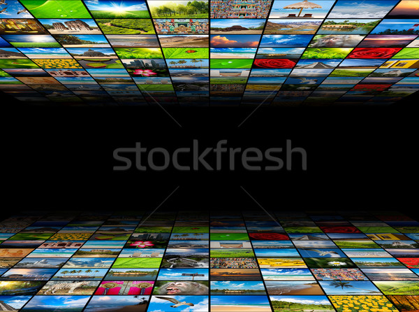 Stock photo: Abstract multimedia background composed of many images with copy