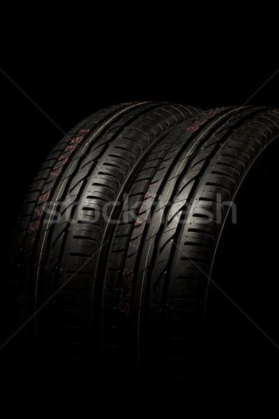 Stock fotó: Kettő · autógumik · közelkép · új · autó · textúra · fekete