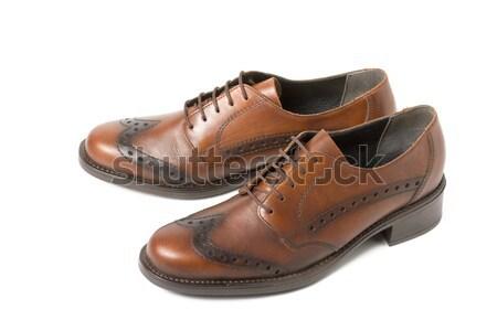 Stok fotoğraf: Iki · kahverengi · ayakkabı · yalıtılmış · beyaz · kız