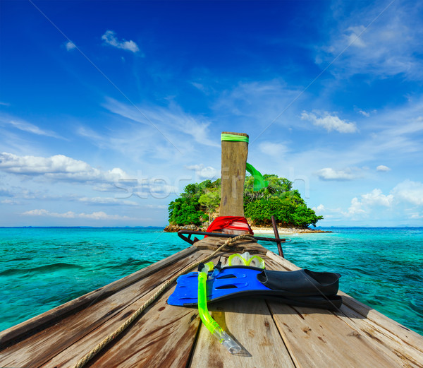 Tropisch eiland zee vakantie vakantie avontuur boot Stockfoto © dmitry_rukhlenko