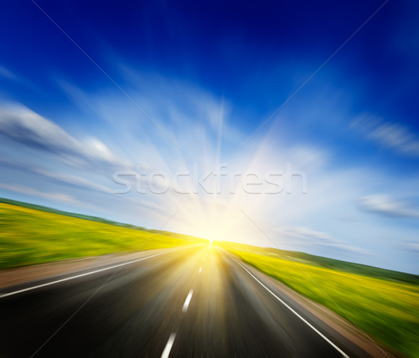 Stock photo: Motion blurred road in blooming spring meadow
