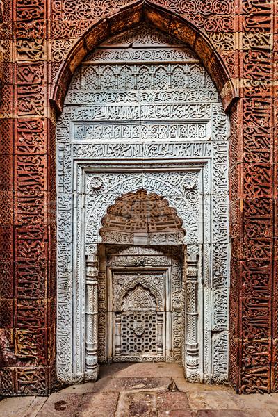 Décoré mur complexe Delhi Inde brique Photo stock © dmitry_rukhlenko