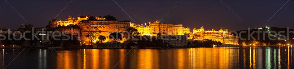 Város palota tó szürkület romantikus luxus Stock fotó © dmitry_rukhlenko