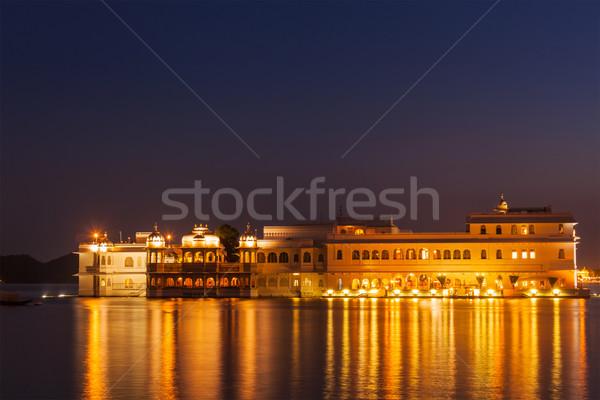 Tó palota szürkület romantikus luxus India Stock fotó © dmitry_rukhlenko
