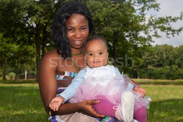 Foto stock: Africano · mãe · criança · feliz · misto
