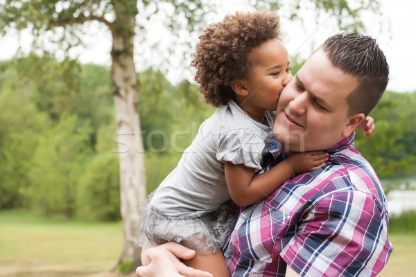 Kiss from the girl to her dad Stock photo © DNF-Style