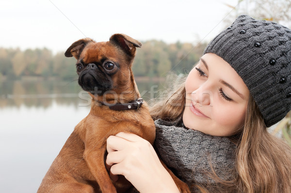 Beauty winter face and dog Stock photo © DNF-Style