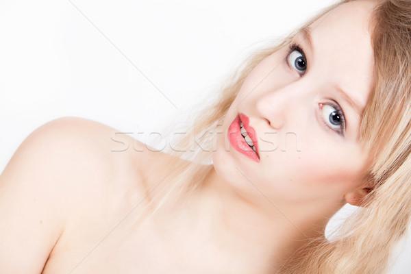 Foto stock: Retrato · loiro · jovem · mulher · branco