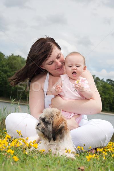 Bebek mutlu çiçek anne kız güzel Stok fotoğraf © DNF-Style
