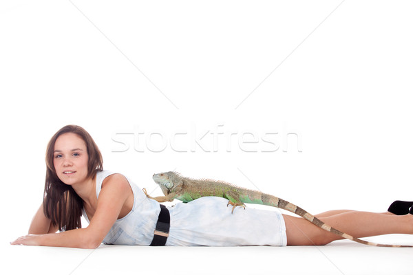 Girl with her iguana Stock photo © DNF-Style