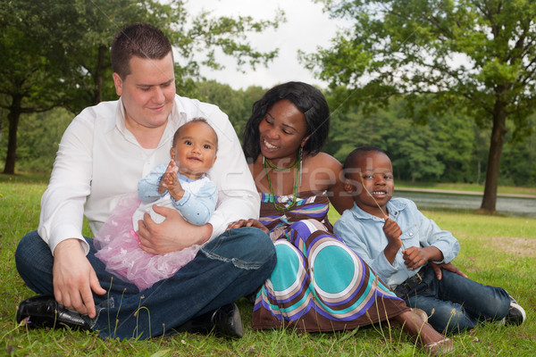 Foto stock: Multicultural · africano · família · feliz · misto · bom