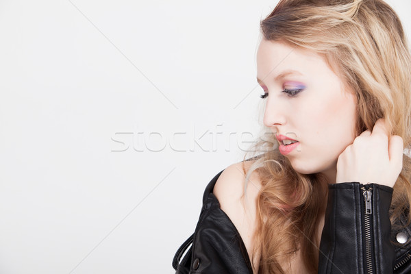 Sereno jaqueta de couro jovem difícil loiro Foto stock © DNF-Style