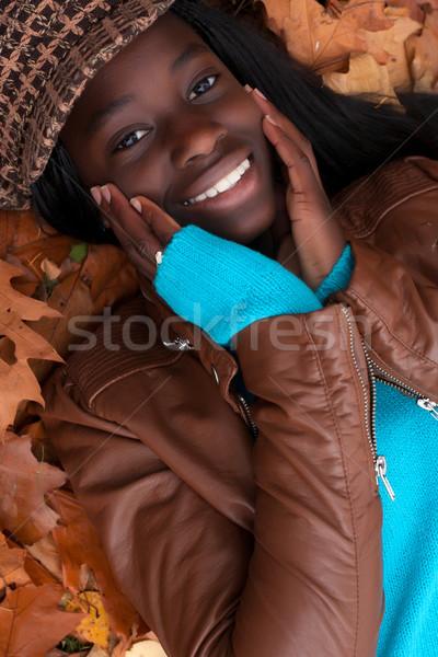 Güzel Afrika kız mutlu kız orman Stok fotoğraf © DNF-Style