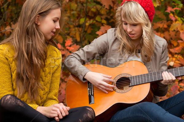 Cantar canção guitarra meninas floresta Foto stock © DNF-Style