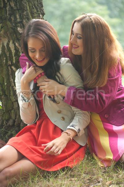 Sorridente meninas dois diversão floresta mulher Foto stock © DNF-Style