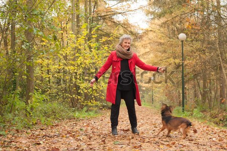 Middle aged lady is playing with her dog Stock photo © DNF-Style