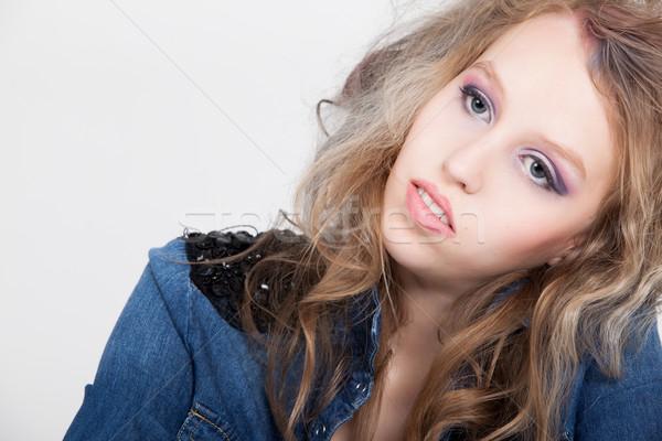 Adolescente profundo pensamentos jovem difícil loiro Foto stock © DNF-Style