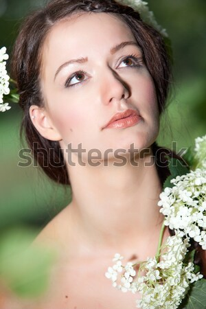 Woman is looking up in nature Stock photo © DNF-Style