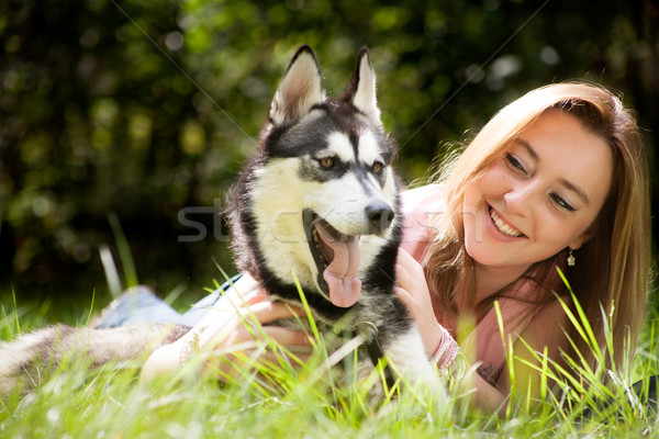 Alert dog and his owner Stock photo © DNF-Style