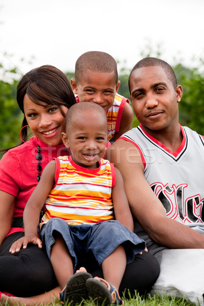 Gülen aile mutlu siyah ücretsiz Stok fotoğraf © DNF-Style