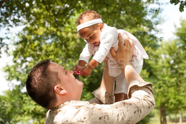 Baba karışık mutlu aile güzel gün Stok fotoğraf © DNF-Style