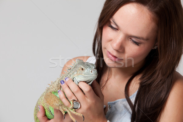 Girl with a dragon Stock photo © DNF-Style