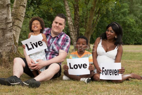 Stockfoto: Live · liefde · voor · altijd · afrikaanse · multiculturele · familie