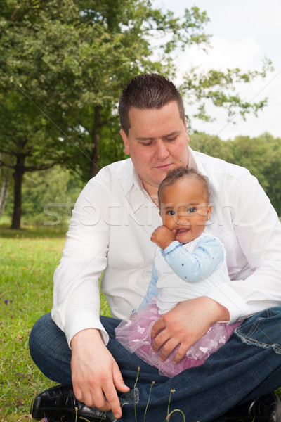 Pai filha feliz misto família bom Foto stock © DNF-Style