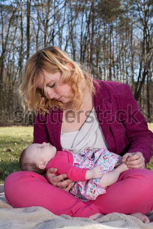 Anya etetés baba mező nő lány Stock fotó © DNF-Style