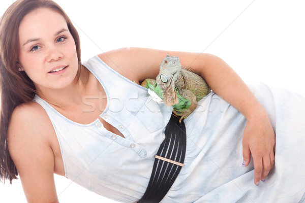 Woman and her lovely dragon Stock photo © DNF-Style