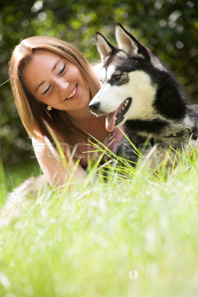 smile with her dog Stock photo © DNF-Style