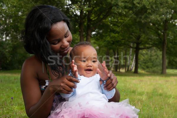 Foto stock: Africano · mãe · menina · feliz · misto · família