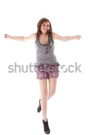 Saltando adolescente jovem adolescente estúdio branco Foto stock © DNF-Style