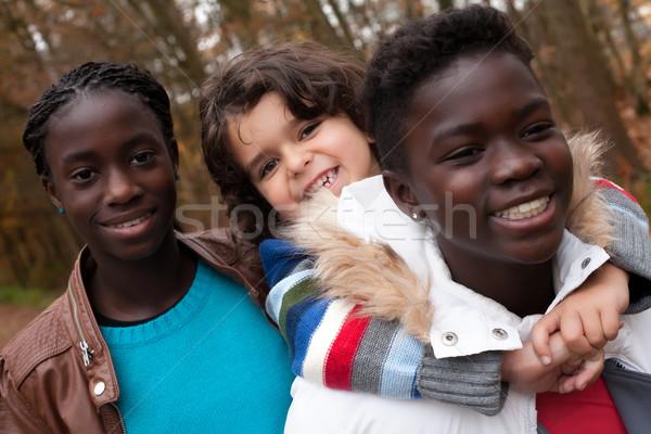 Meu adoção irmãs feliz crianças floresta Foto stock © DNF-Style