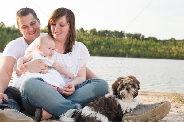 Família dia fora praia jovem trio Foto stock © DNF-Style