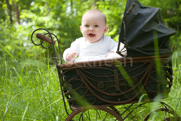 Happy baby in vintage pram Stock photo © DNF-Style