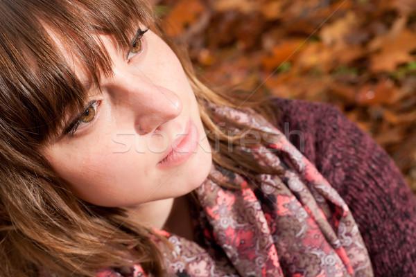 Yanak sonbahar genç kadın soğuk gülümseme yüz Stok fotoğraf © DNF-Style