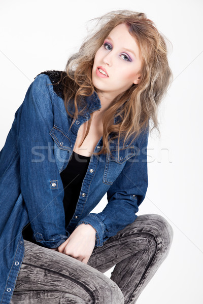 Foto stock: Punk · menina · isolado · branco · jovem · difícil