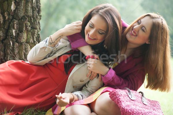 Mutluluk iki kızlar eğlence orman kadın Stok fotoğraf © DNF-Style