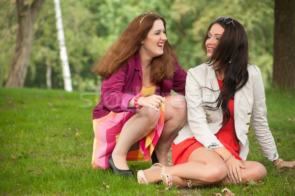 Meisje is mislukt twee meisjes leuk bos Stockfoto © DNF-Style