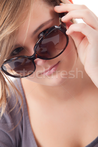 Adolescente óculos de sol jovem adolescente estúdio branco Foto stock © DNF-Style