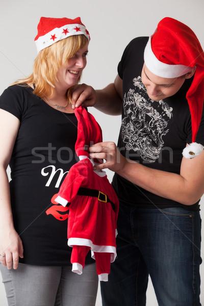Noel gebelik çift mutlu genç hamile Stok fotoğraf © DNF-Style