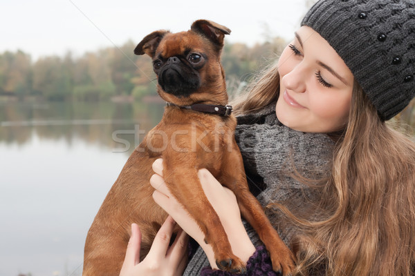 Winter teenager and her dog Stock photo © DNF-Style
